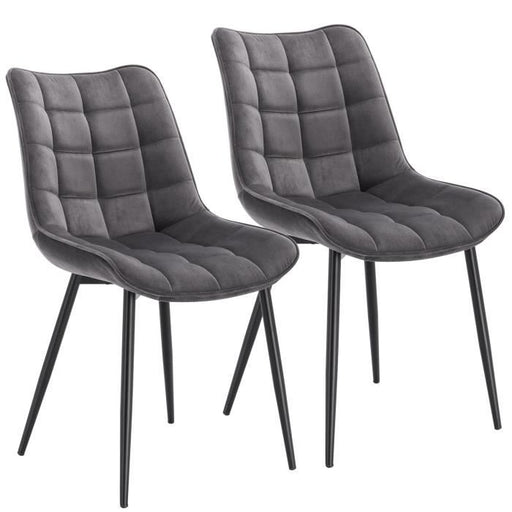 Tatiana Set of 2 Velvet Grey Chairs   Dining Chairs boutique-discount-malta.myshopify.com My Discount Malta