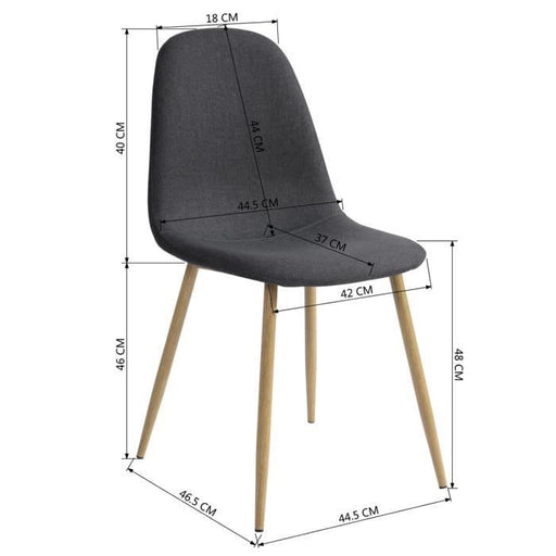 Scandinavian Style fabric dining chairs with wooden effect feet
