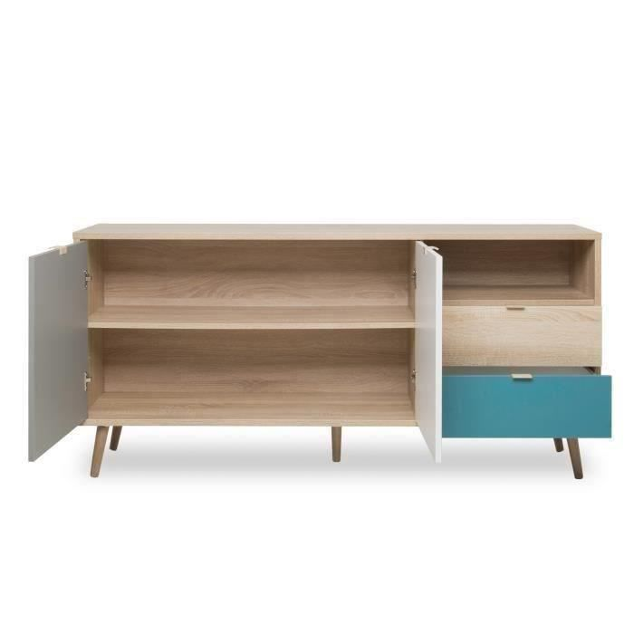 Tiba sideboard with 2 doord white and grey 2 drawers and 1 open shelf