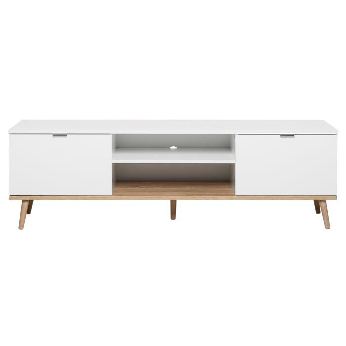 Gutenberg TV Unit - White with wooden features - scandinavian style