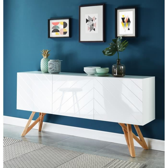 LEA Scandinavian high white glossy sideboard - My Discount Malta
