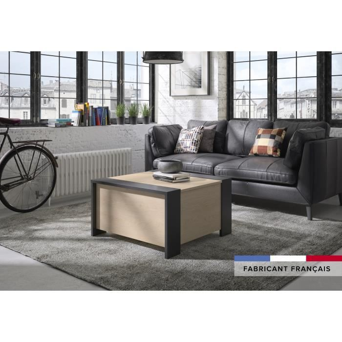 Aura Low Bar Coffee Table - Urban Style - Chestnut and Black Decor