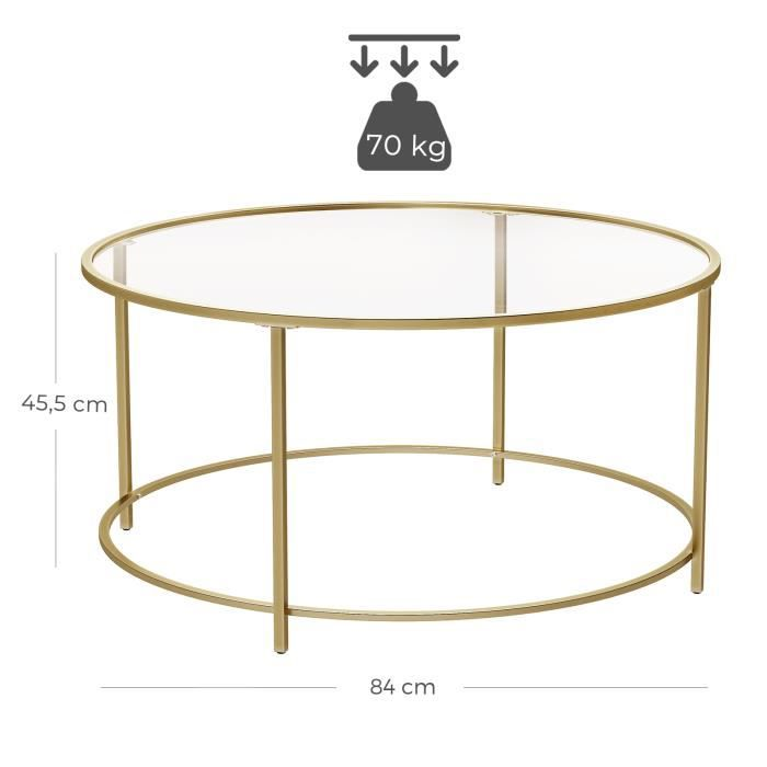 Round Coffee Table Tempered Glass Top - Golden Metal Frame