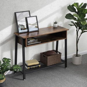 Wooden vintage style console with open storage and bottom metal shelf