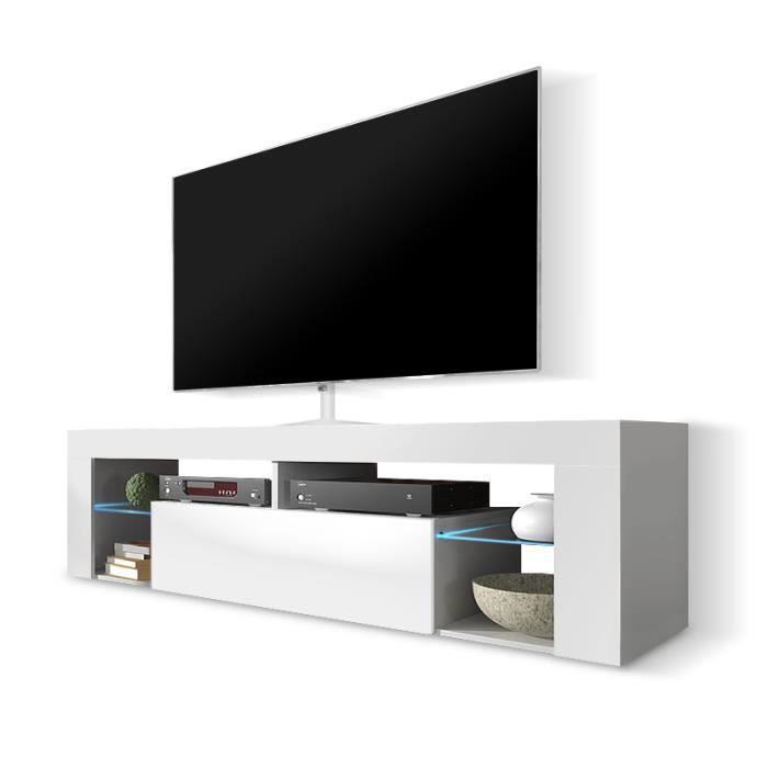 White tv cabinet with led on shelves