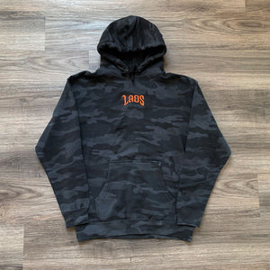 Laos Script Embroidered Logo Black Camo Hoodie
