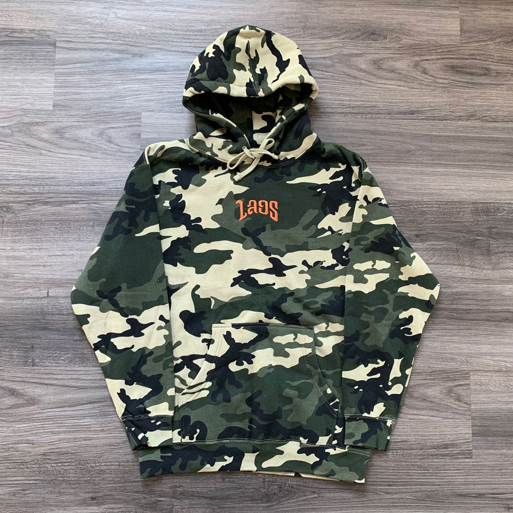 Laos Script Embroidered Logo Camo Hoodie