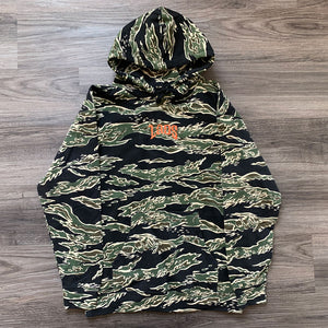 Laos Script Embroidered Logo Tiger Camo Hoodie