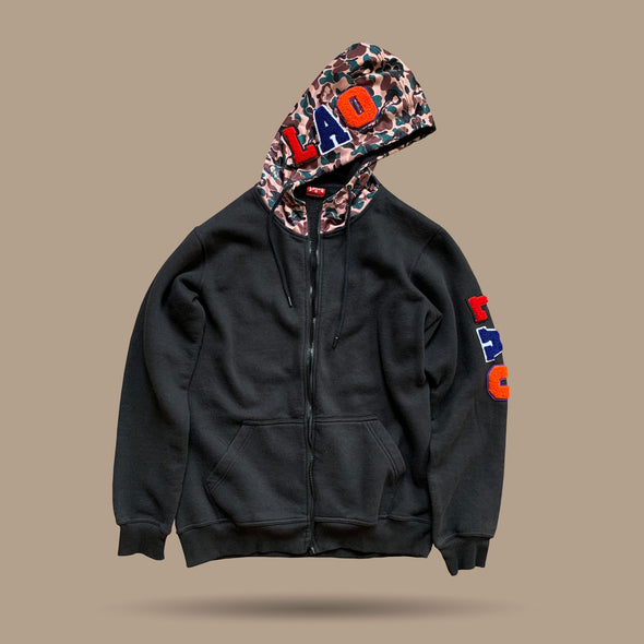 LAO Chenille Patch Zip Up Hoodie