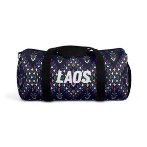 Lao Navy Traditional Textile Duffel Bag
