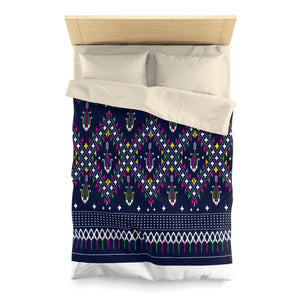 Lao Navy Traditional Textile Microfiber Duvet Cover