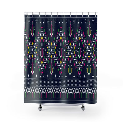 Lao Navy Traditional Textile Shower Curtains