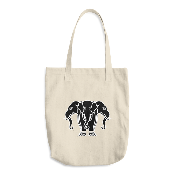 Three Head Elephant Cotton Tote Bag