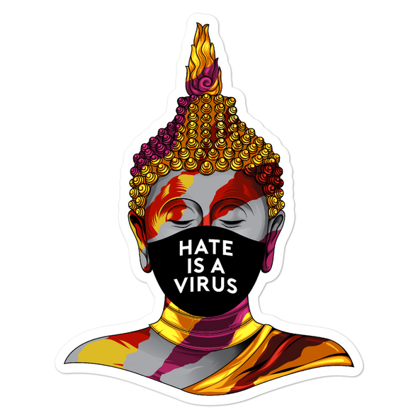 Hate Is A Virus Buddha Bubble-free stickers