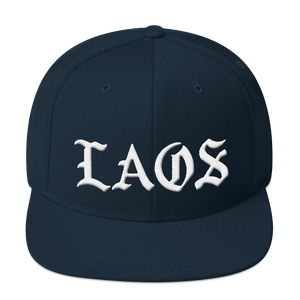 Laos Old English Snapback Hat