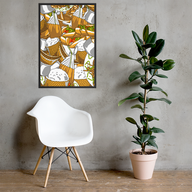 Lao Food Pattern Framed poster