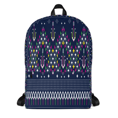 Lao Navy Traditional Textile Backpack