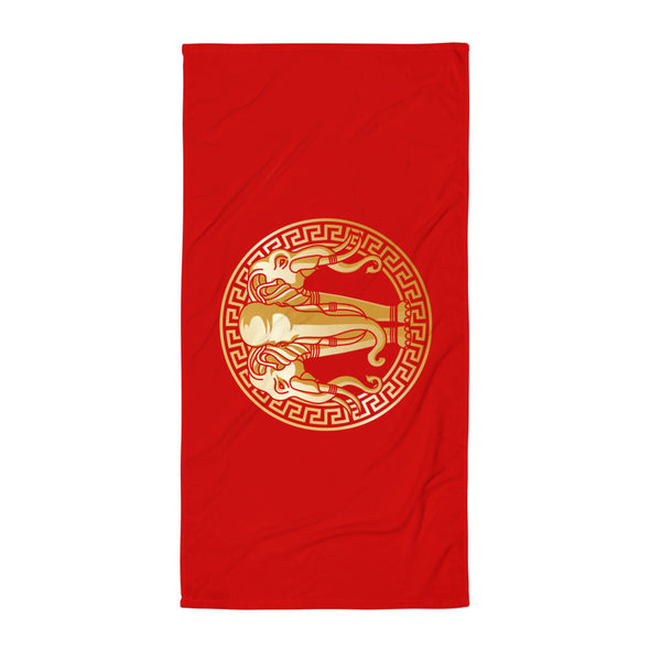 Red and Gold Elephant Laos Flag Beach Towel