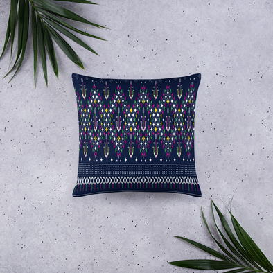 Lao Navy Textile Pattern Basic Pillow