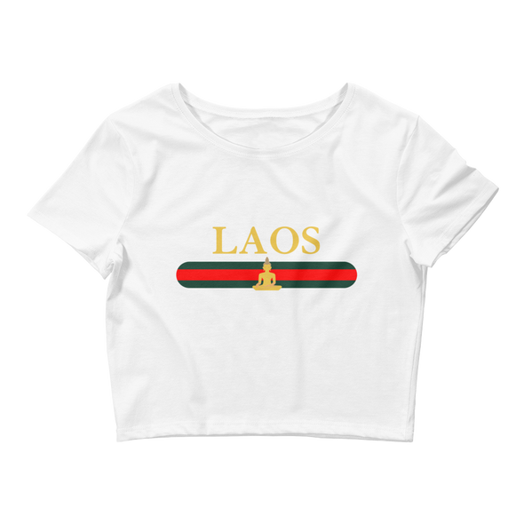 Laos Buddha Stripes Women's Crop Tee