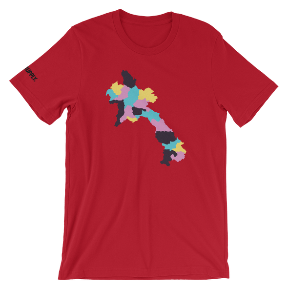 Laos Map Teal Camo T-Shirt