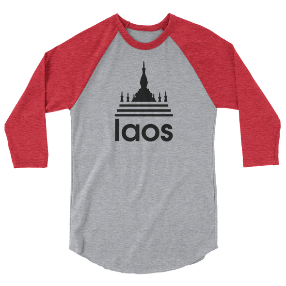 Laos Temple Stripes 3/4 sleeve raglan baseball shirt