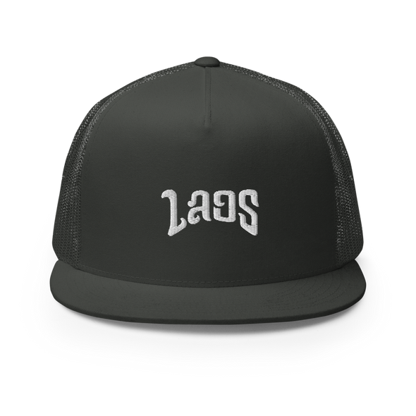 Laos Script 5 Panel Trucker Cap