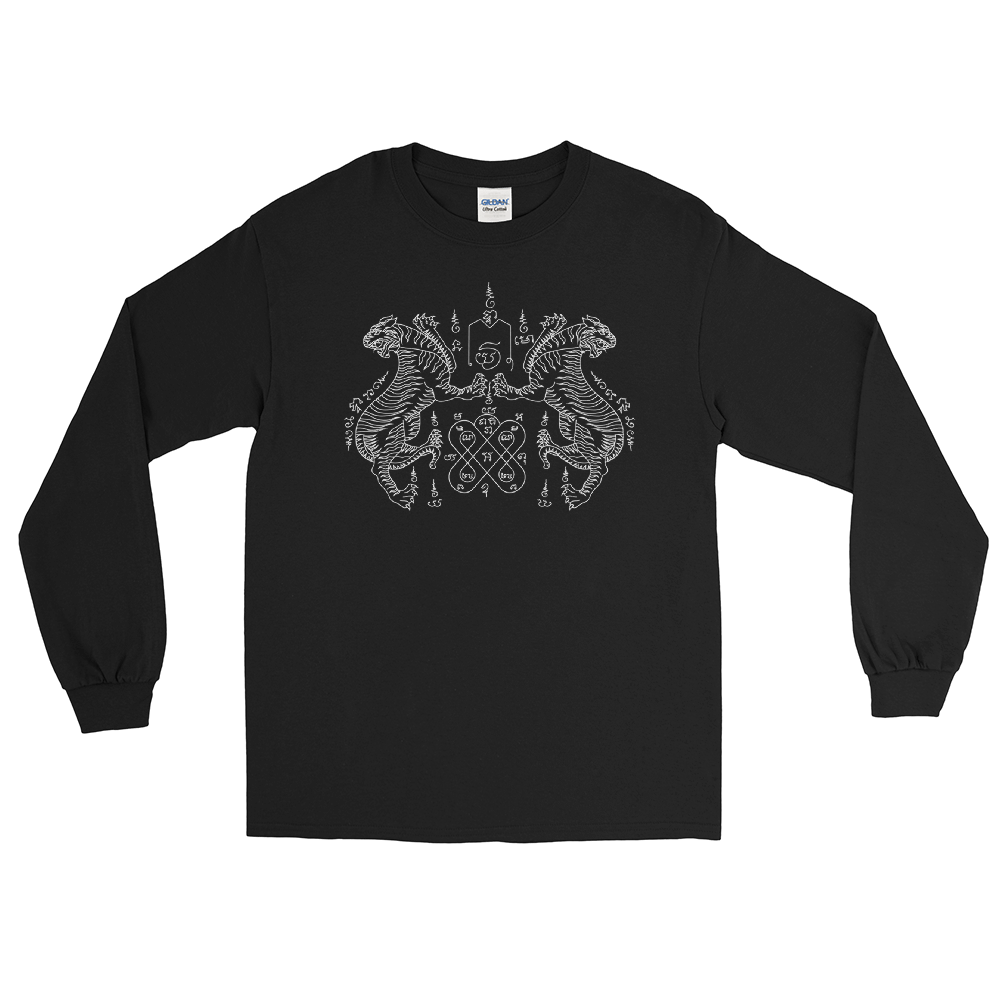Tiger Sak Yant Tattoo Long Sleeve T-Shirt by By Fusay (Addiction Tattoo)
