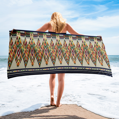 Lao Traditional Pattern Tan Towel