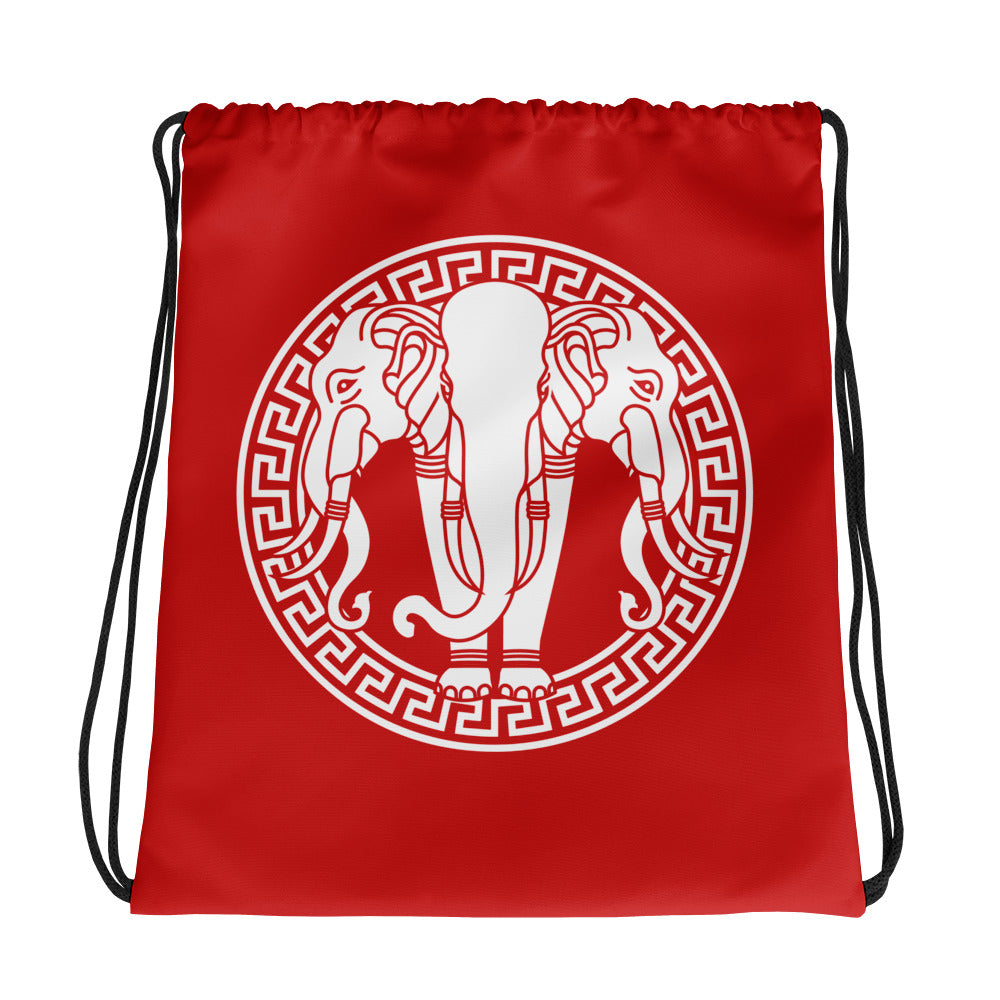 Golden Elephant Red Drawstring bag