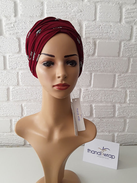 T'Wrap Headwrap -  Burgundy butterfly -  Mixed fibres - ThandiWrap