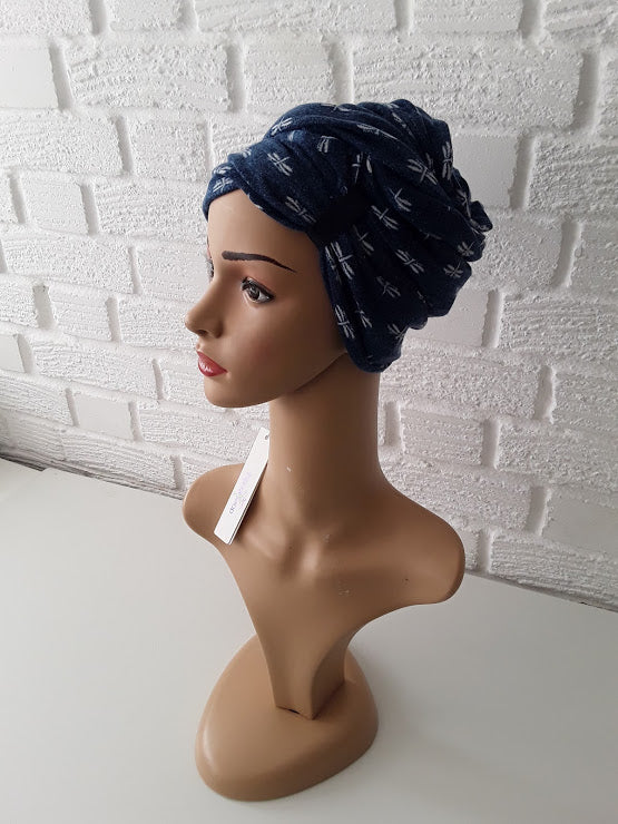 T'Wrap Headwrap -  White butterfly on Navy Blue -  Mixed fibres - ThandiWrap