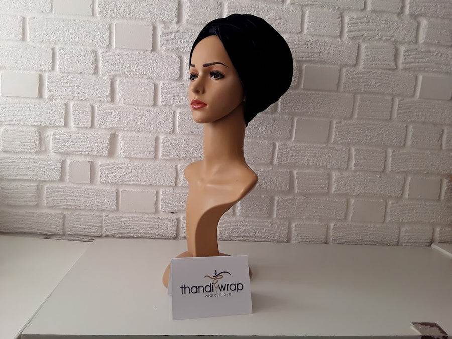 T'Wrap Headwrap -  Midnight Blue-  Luxury velvet - ThandiWrap