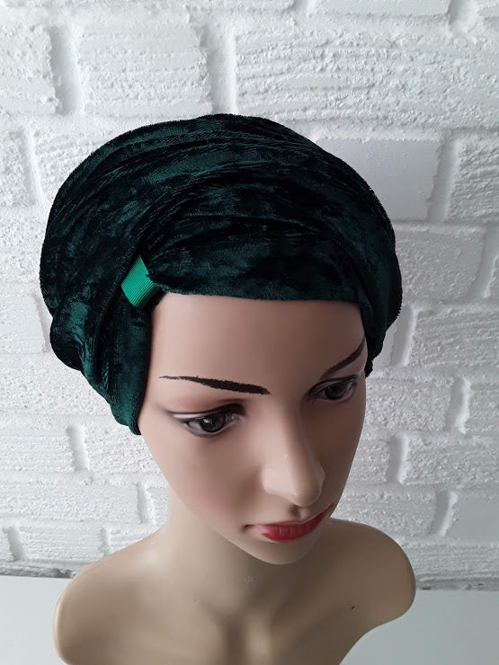 T'Wrap Headwrap -  Emerald Green -  Luxury velvet - ThandiWrap