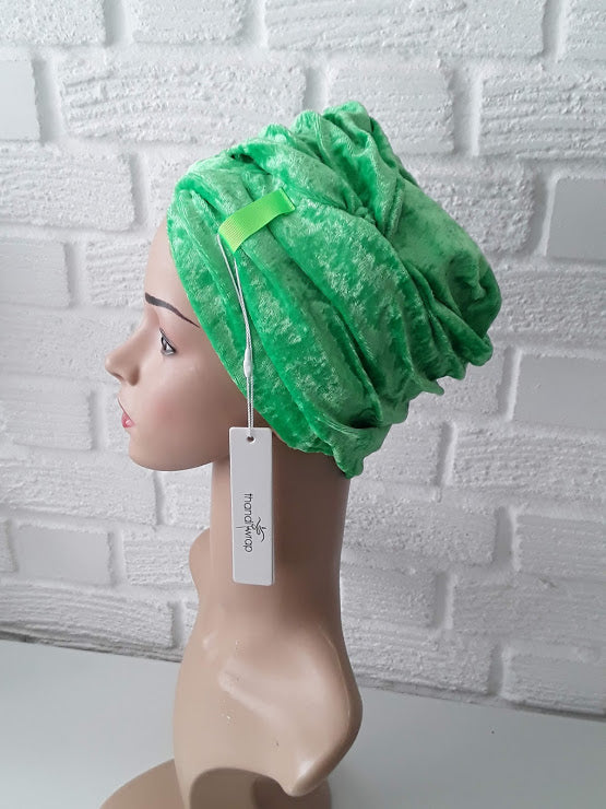 T'Wrap Headwrap - Happy Green - Snug velvet - ThandiWrap