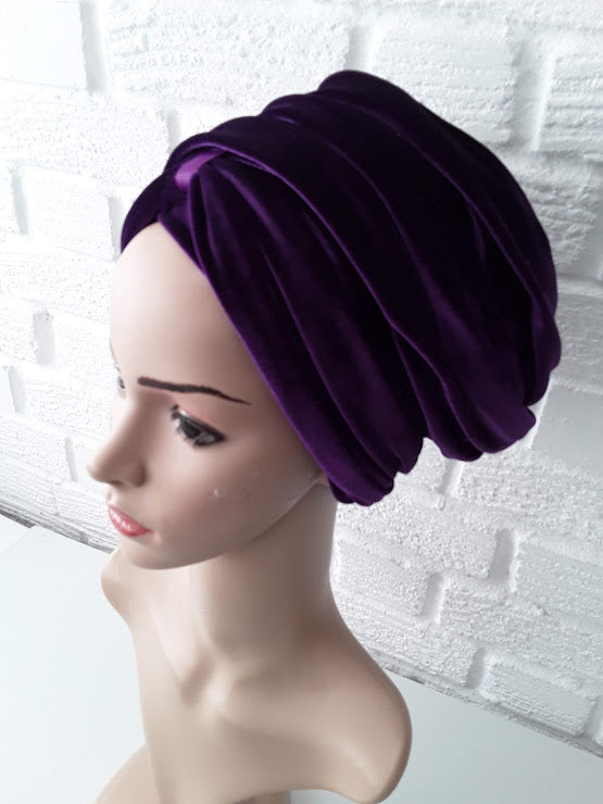 T'Wrap Headwrap -  Purple -  Luxury velvet - ThandiWrap