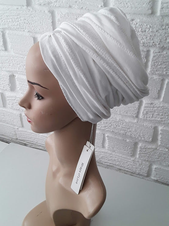 T'Wrap Headwrap - Texturised white  Cotton  knit - ThandiWrap