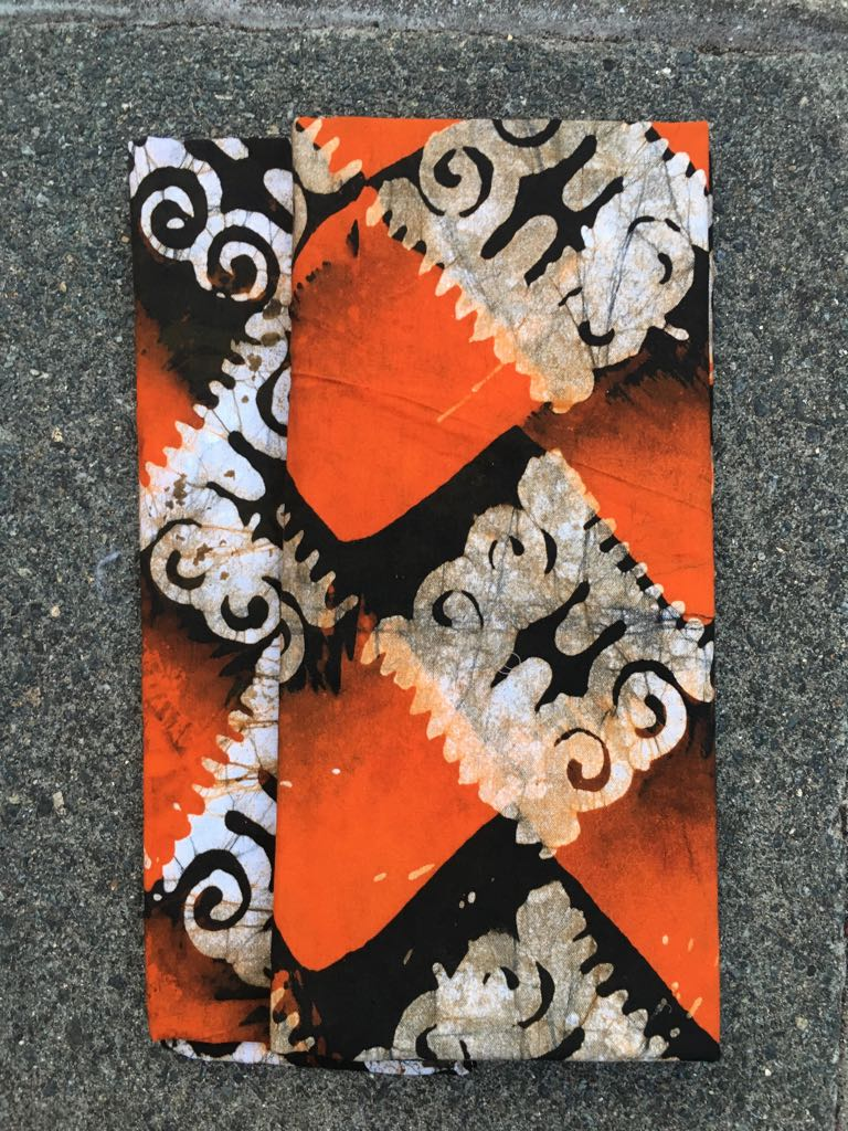 Headcloth - Print Batik - Burnt Orange Squares - ThandiWrap