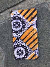 Headcloth - Print Batik - Brown On Orange Strips - ThandiWrap