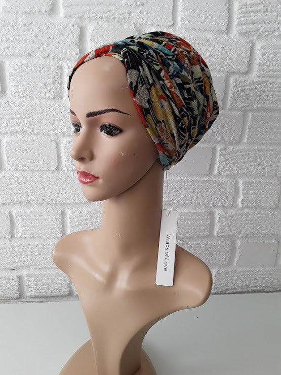 T'Wrap Headwrap -  Wild Flowers   -  Mixed fibres - ThandiWrap