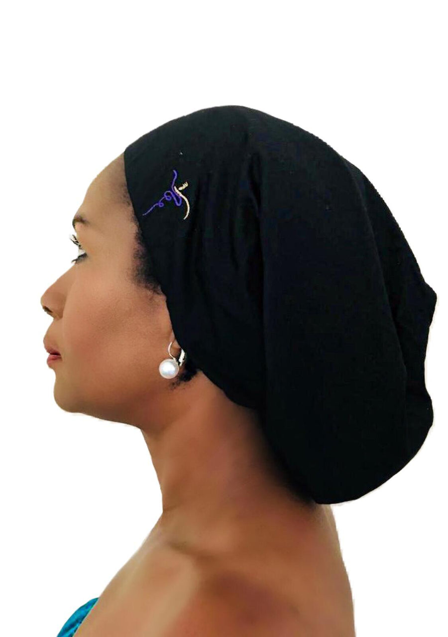 Satin-Lined Beanie - Long - Black