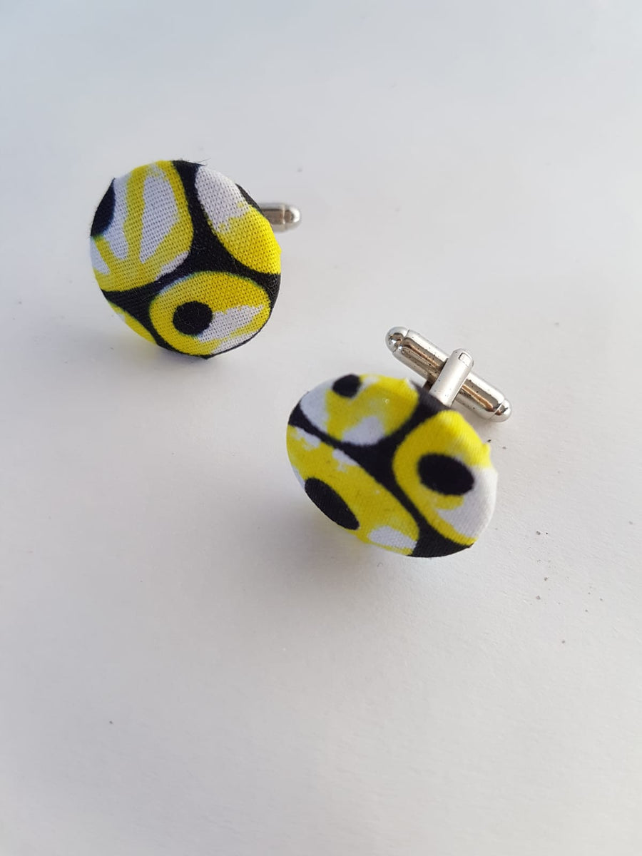 CUFFLINK - African Print Yellow Mix
