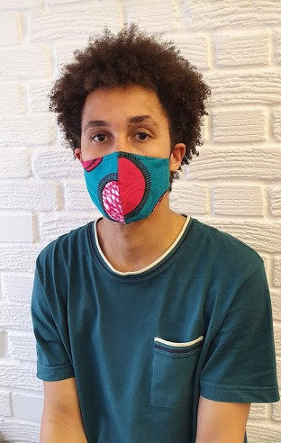 Curved Face Masks:  3 layers - Filter Pocket & Nose Wire - ThandiWrap
