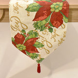 Poinsettia Tapestry Christmas Table Runner | 33 x 180 cm