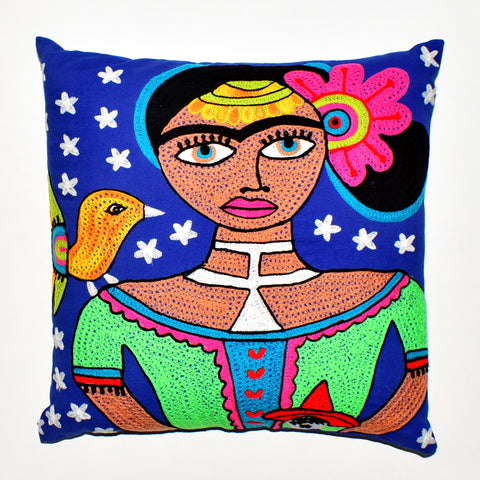 Frida Kahlo Embroidered Cushion Cover | 45 x 45 cm