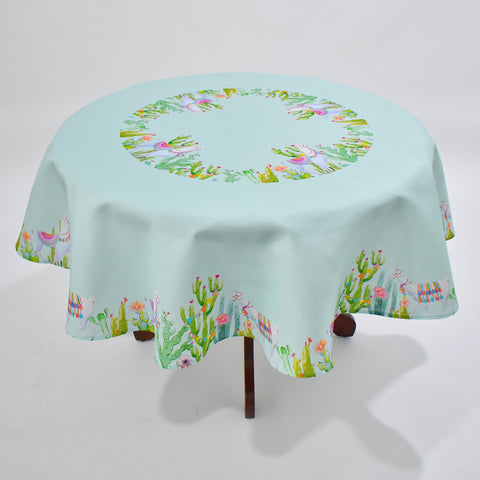 Printed Summer Llama Round Table Topper | 180cm Round