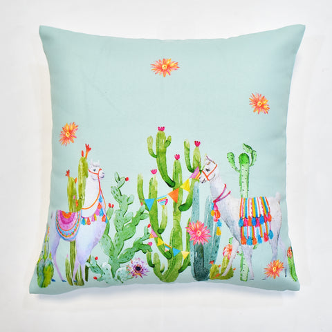 Summer Llama Printed Cushion Cover | 44 x 44 cm