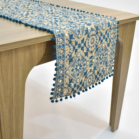 Blue Ethnic Embroidered Table Runner | 16 x 64 inches