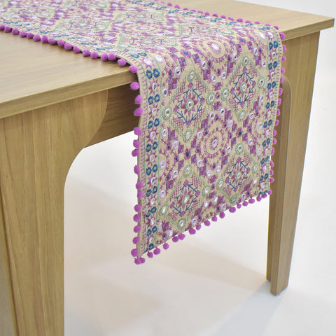 Purple Ethnic Embroidered Table Runner | 16 x 72 inches