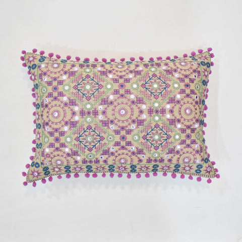 Purple Ethnic Embroidered Cushion Cover | 35 x 50 cm